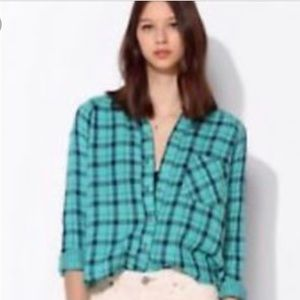 NEW Urban Outfitters plaid turquoise flannel